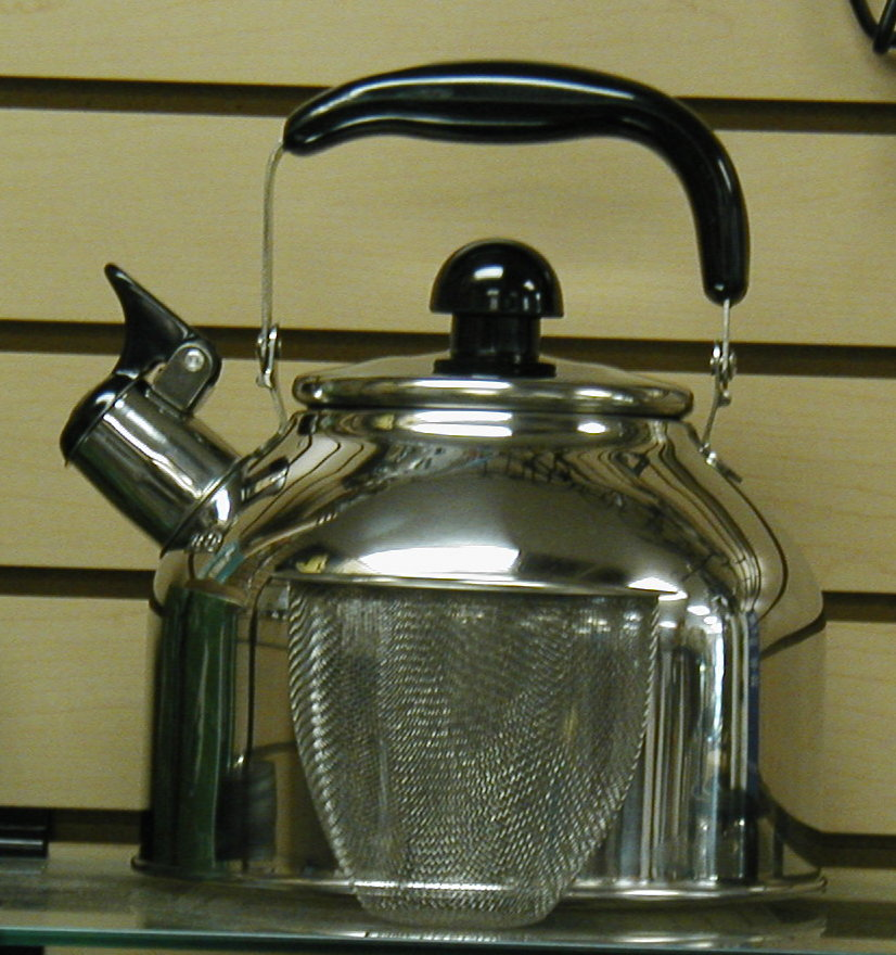 large 4 quart stainless steel whistling tea kettle with stainless infuser new ebay. Black Bedroom Furniture Sets. Home Design Ideas