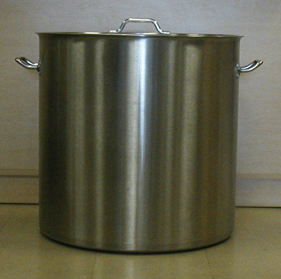 200 quart Stainless Steel Super extra large Stock pot actual size is 176.5  quarts 23 1/4 inside diameter 24 1/4 outside diameter